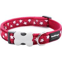 Obojek RD 20 mm x 30-47 cm - Stars White on Red